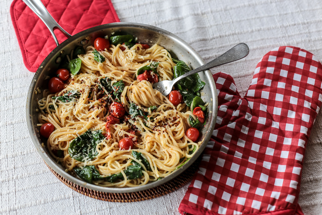Cherry Tomato, Basil, Spinach and Parmesan Pasta