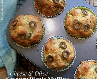 Cheese and olive savoury picnic muffins