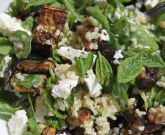 Roasted Aubergine, Feta and Mint Salad