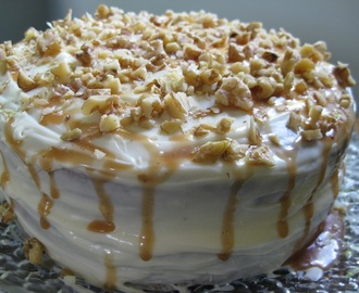 Carrot Cake with Cream Cheese Icing and Caramel Sauce