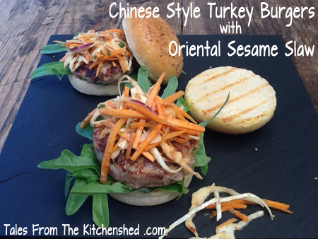 Chinese Style Turkey Burgers with Oriental Sesame Slaw