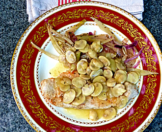 Turkey steaks in sweet wine and mushroom sauce - #TurkeyTractorChallenge