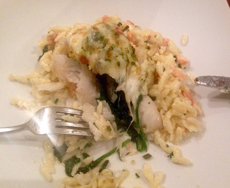 Gratin of Cod, Prawns, Spinach & Pesto served with Smoked Salmon & Saffron Orzo