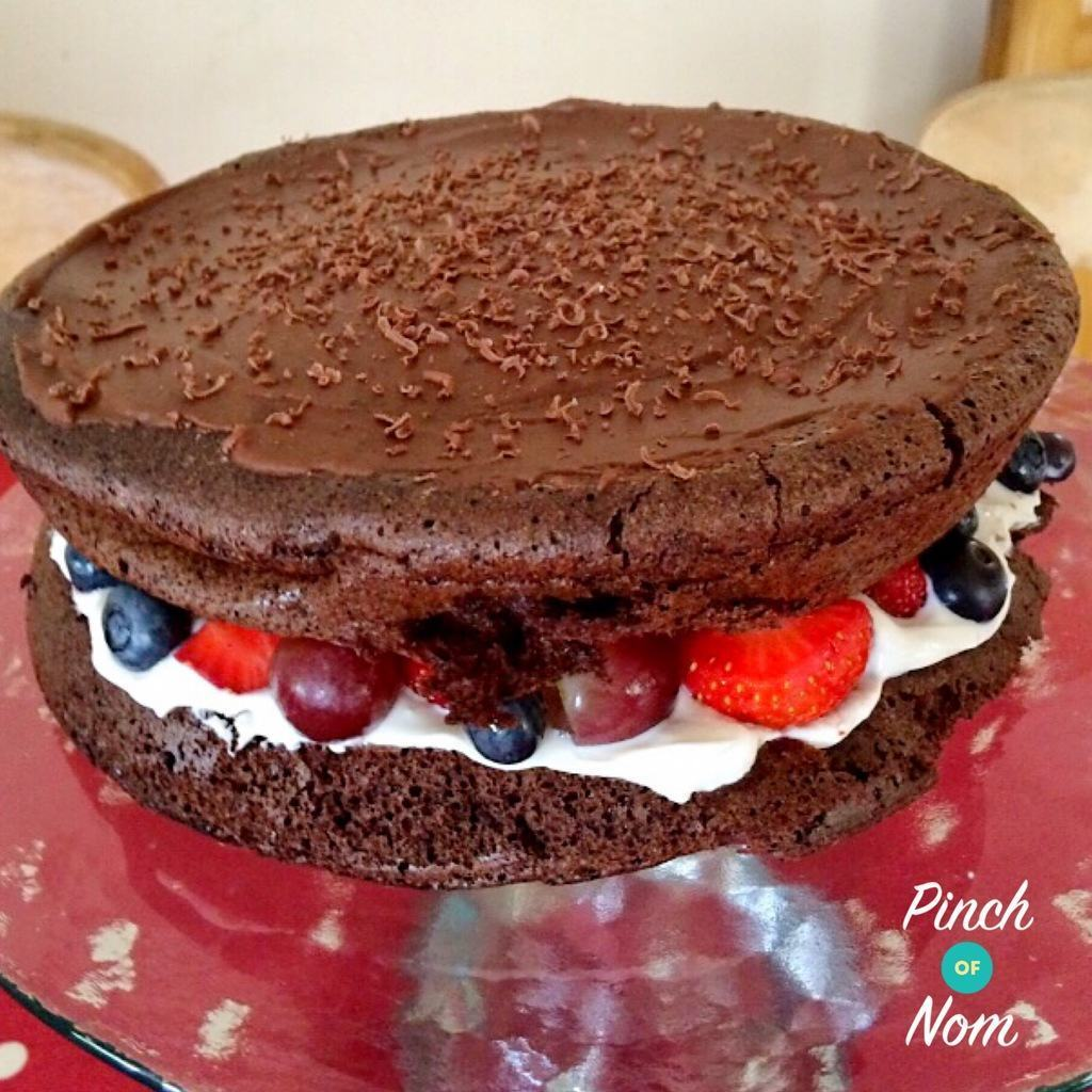 Low Syn Chocolate Caramel Cake with fruit filling | Slimming World