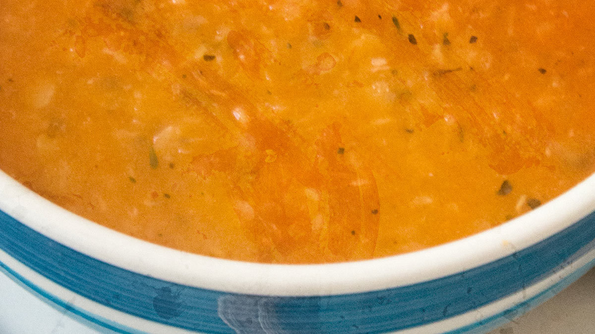 Red Lentil Soup with Tomatoes, Herbs & Roasted Garlic