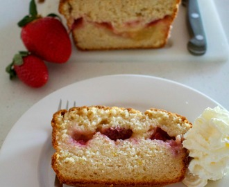 Strawberry, lemon curd and coconut loaf cake