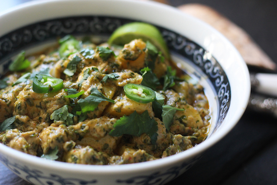 thai peanut potato and spinach curry.