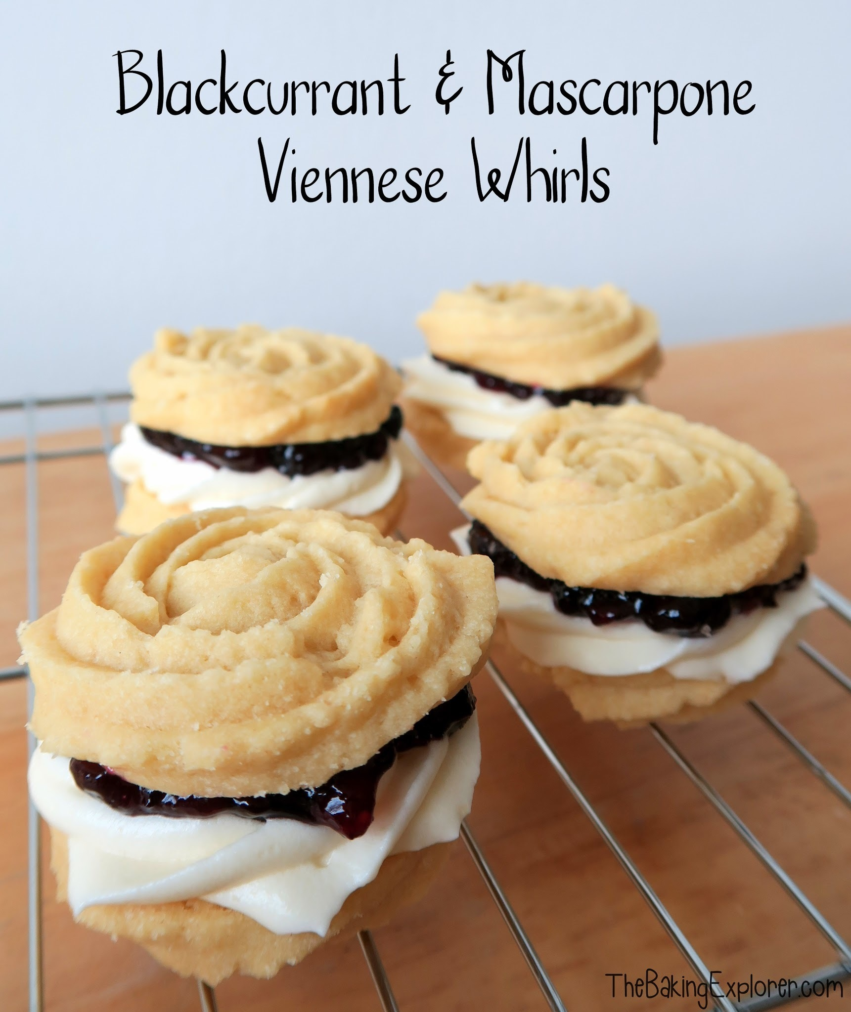 Blackcurrant & Mascarpone Viennese Whirls: GBBO Week #2