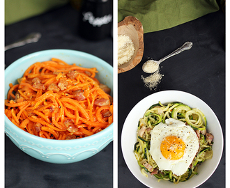 Spiralized Pasta Carbonara, Two Ways