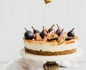 Classic Vanilla Bean Cheesecake with fresh figs, pistachios, and honey