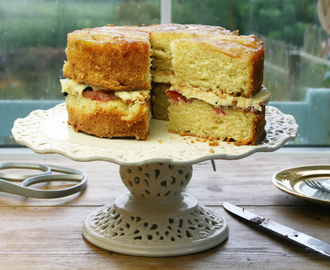 upside down victoria plum victoria sponge with salted maple syrup buttercream