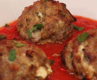 LAMB MEATBALLS WITH CARAMALISED ONIONS HOME MADE GOATS CHEESE AND MY FIVE FAMILIES ITALIAN TOMATO SAUCE