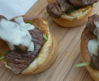 Easy Yorkshire Pudding Recipe Filled with Steak and Blue Cheese Sauce