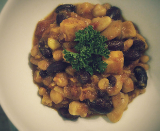 Slow Cooker Sweet Potato, Chickpea & 3 Bean Chilli