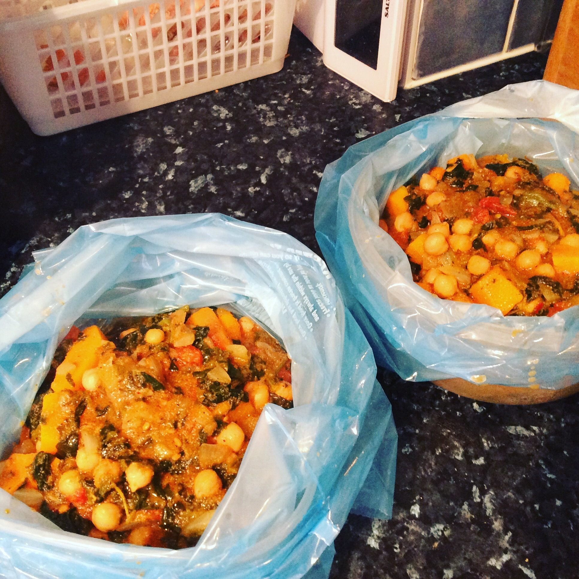 Butternut squash, chickpea, sweet potato and spinach curry