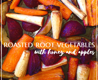 Honey roasted root vegetables with apples