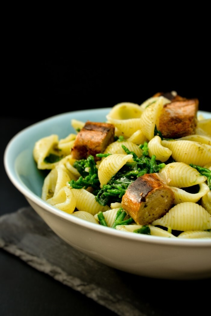 Shell Pasta with Samphire, Spinach & Sausages