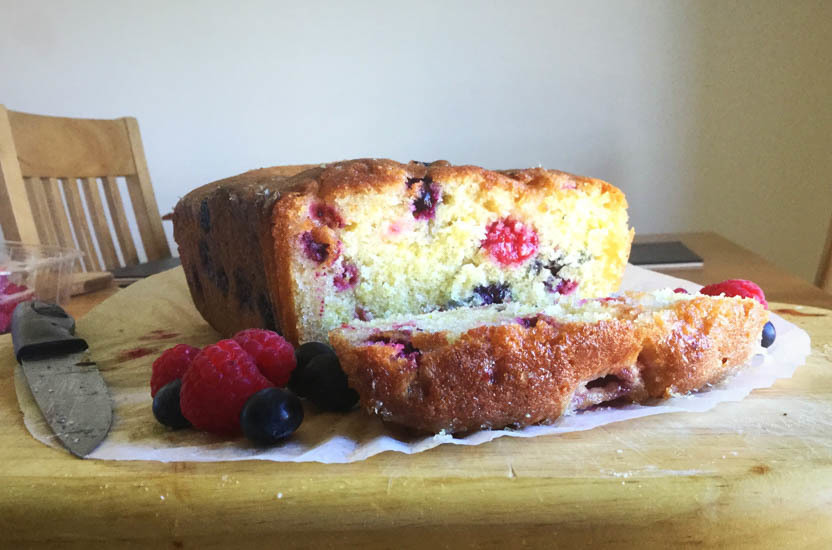 Blueberry and Raspberry Lime Drizzle Loaf Cake