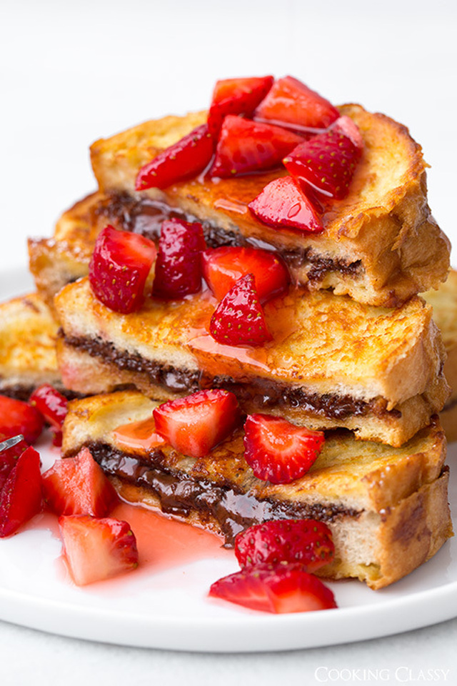 Nutella Stuffed French Toast with Macerated Strawberries