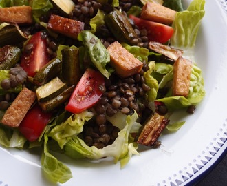 Puy lentil, tofu and roasted courgette salad