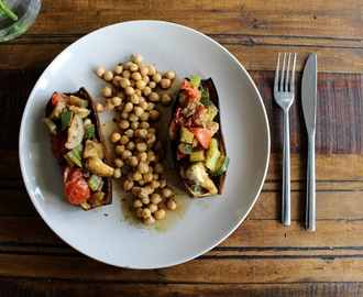 Aubergine Bake with a Chickpea Salad
