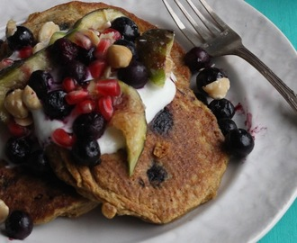 Oat & Flax Pancakes with Frozen Berries and Seasonal Fruit