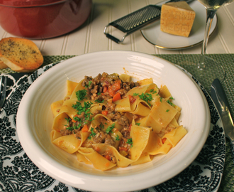Alice Waters' Bolognese Sauce on Pappardelle Pasta