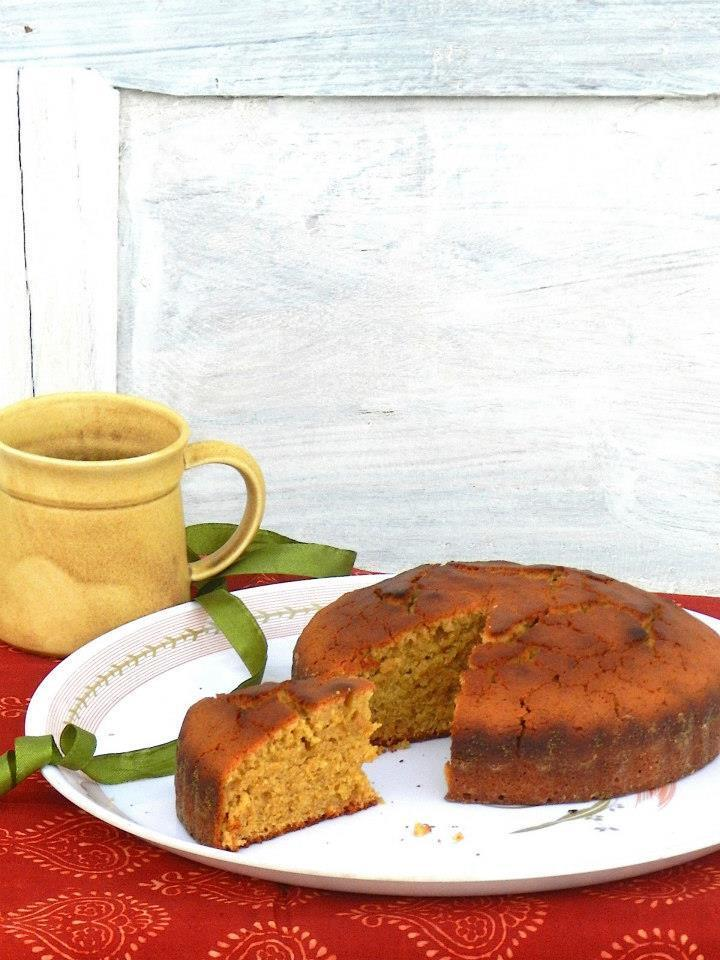 Jaggery Cake (A basic vanilla sponge cake using wheat flour and jaggery)