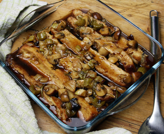 focaccia and mushroom 'bread and butter pudding'