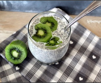Compile moi un menu , on veut du Light , pudding de chia au lait d'amande et au kiwi