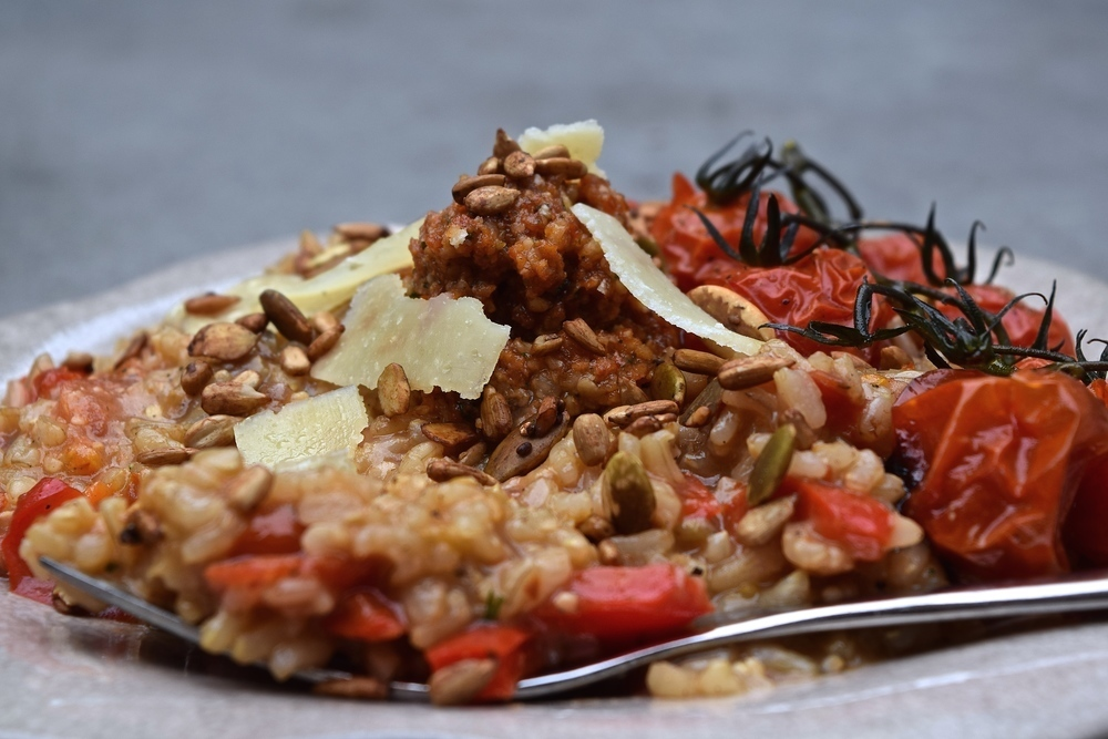Brown Rice Risotto with Sundried Tomato Pesto