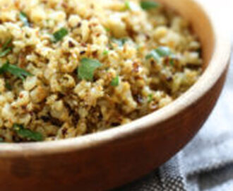 "Roasted Cauliflower ""Rice"" with Garlic and Lemon"