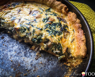 Spinach, Mushroom and Chicken Quiche