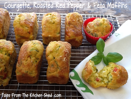 Courgette, Roasted Red Pepper & Feta Muffins