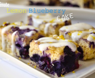 3 minute Lemon blueberry cake with vanilla drizzle