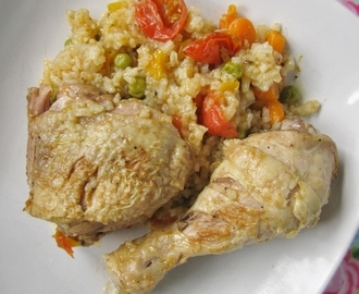 One pot chicken with rice and vegetables...