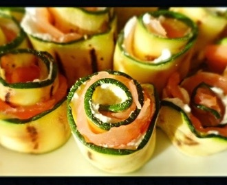 INVOLTINI DI ZUCCHINE E SALMONE - ROLLS OF SALMON AND ZUCCHINI