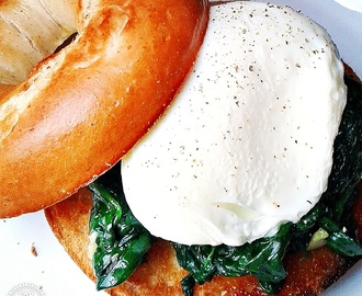 Quick Poached Egg & Garlic Spinach Bagel