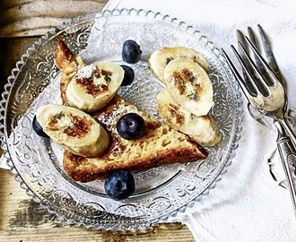 Blueberries and banana french toast