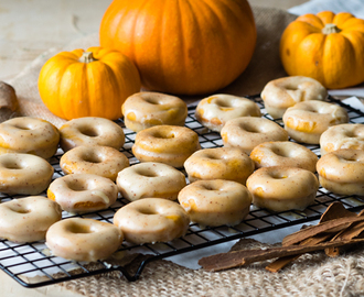 Mini Baked Pumpkin Donuts with Brown Butter Glaze