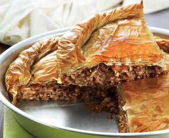 Country-style meat pie with Kasseri cheese and walnuts