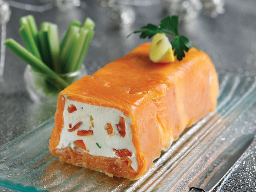 Festive cheese terrine wrapped with smoked salmon