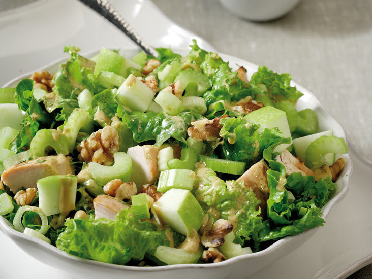 Salad with iceberg, apples, celery and leftover roast chicken