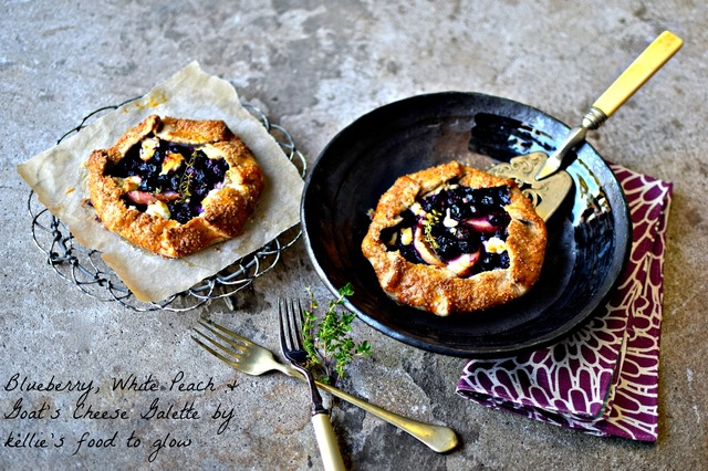 Mini Blueberry, White Peach & Goat's Cheese Galettes (a lower sugar recipe) + GBBO 2015
