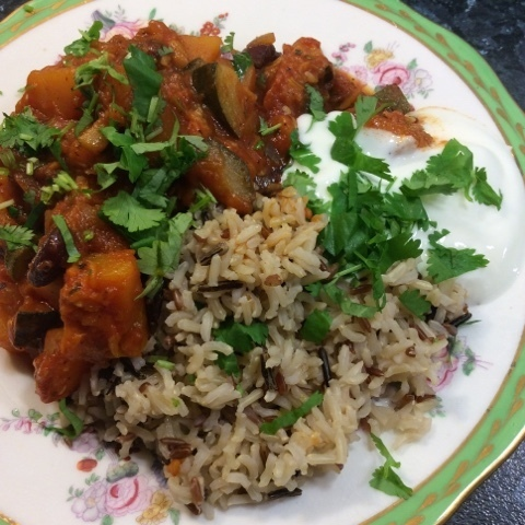 Vegetable chilli and wild rice for 70p per portion