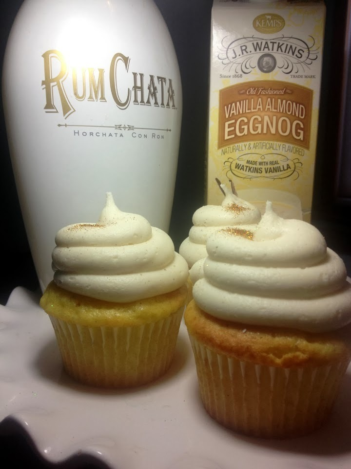 Spiked Rumchata Egg Nog Cupcakes. They heal hearts!