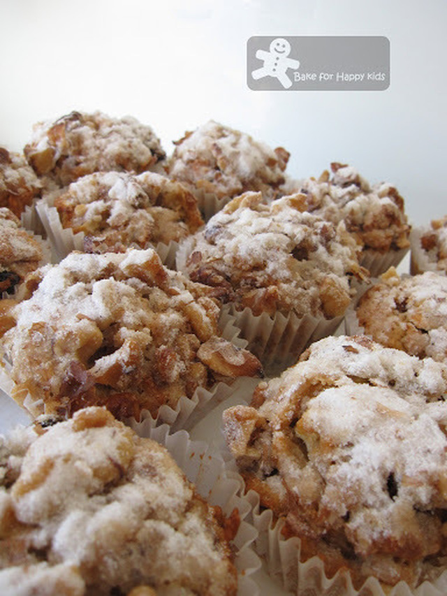 Apple Cinnamon Muffins with Crunchy Walnuts Toppings
