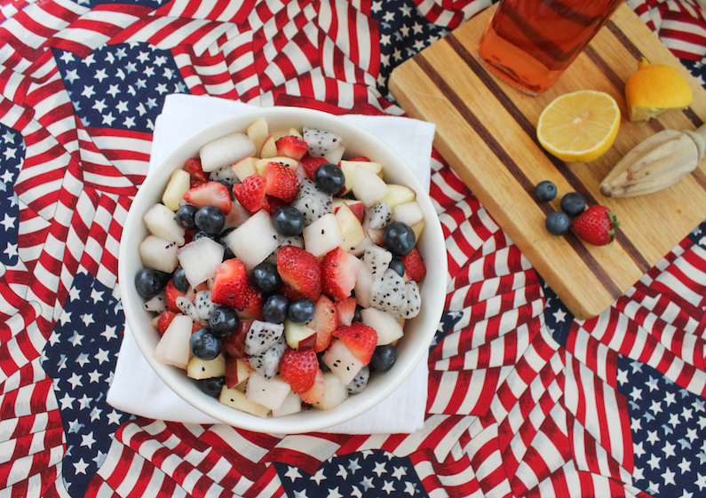 Boozy Red White and Blue Fruit Salad #SundaySupper