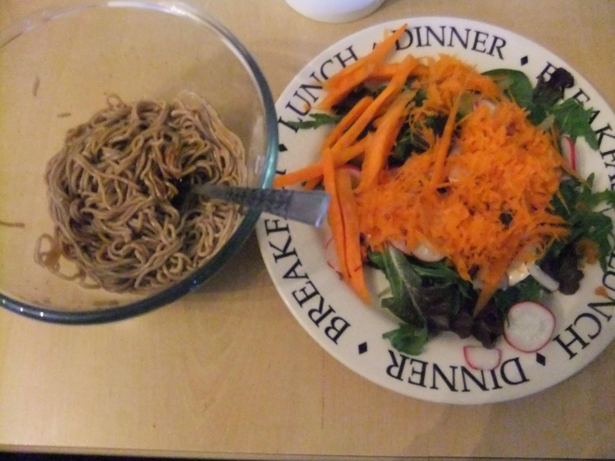 Quick lunch idea - chinese style buckwheat noodles and salad