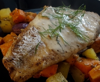 Kuhaa salviavoissa, beurre blancia ja uunijuureksia – pike perch in sage butter, beurre blanc and oven-roasted root vegetables